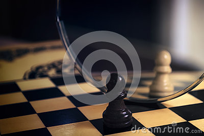 Chess piece in the mirror Stock Photo