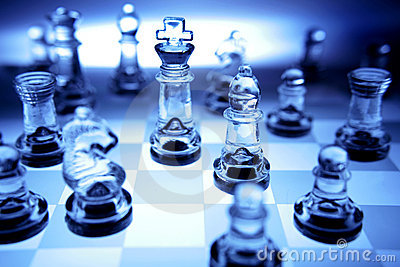 Chess Pieces In Blue Tone Royalty Free Stock Photo Image