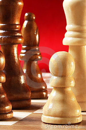 Chess Pieces on Red