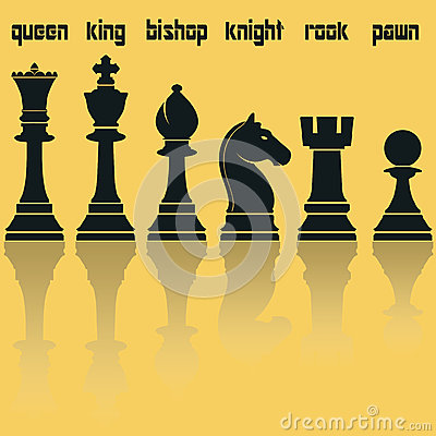 Free Chess Pieces Silhouettes With Reflection. Vector Royalty Free Stock Images - 59572589