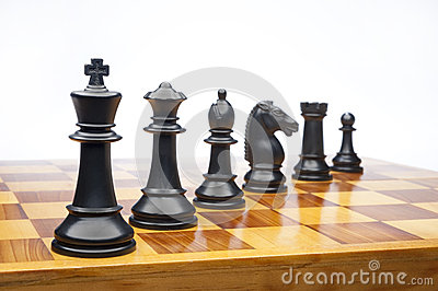 Chess pieces on white