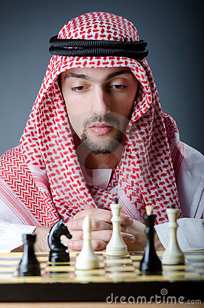 Chess player playing  game