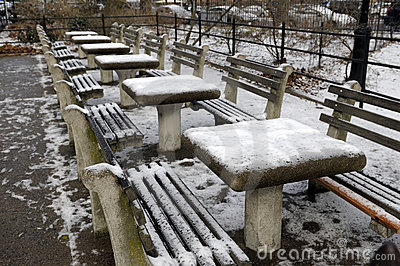 Chess tables with snow