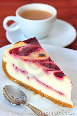 Free Chesse And Raspberry Cream Cake & A Cup Of Coffee Stock Photo - 15824070