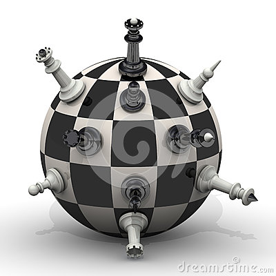 Free Chessmen Stand On A Spherical Field Stock Photography - 64670932
