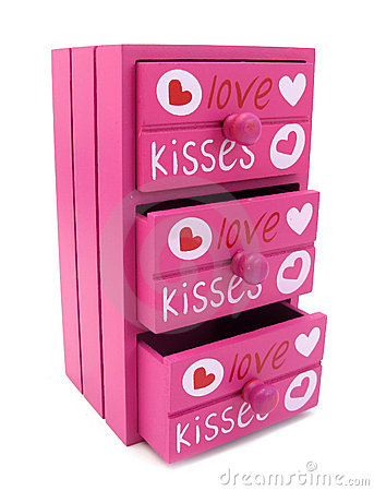 Chest of drawers pink with words of love and heart