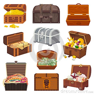 Free Chest Vector Treasure Box With Gold Money Wealth Or Wooden Pirate Chests With Golden Coins And Ancient Jewels Royalty Free Stock Photo - 107798135