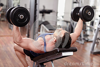 Chest workout on bench press