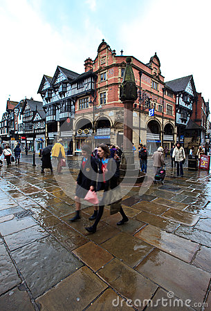 Chester city center in busy midday Editorial Photography