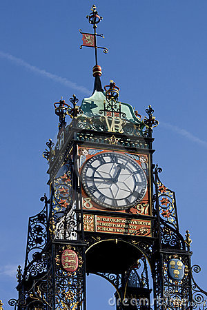 Chester - Victorian Clock - England Editorial Stock Photo
