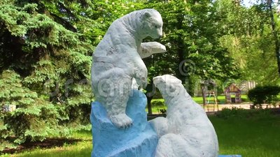 Chestnut. Bears Sculpture. stock footage
