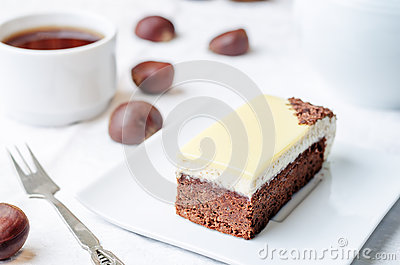 Chestnut Brownie Cake With Chestnut White Chocolate Mousse ...