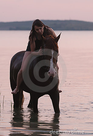 Chestnut horse and the girl in the water