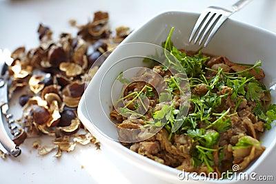 Chestnut and wild chanterelle mushroom carbonade