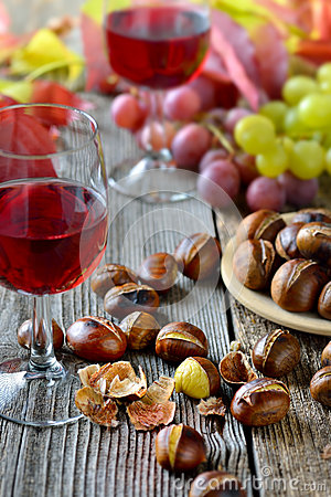 Free Chestnuts And Wine Royalty Free Stock Photos - 61413418