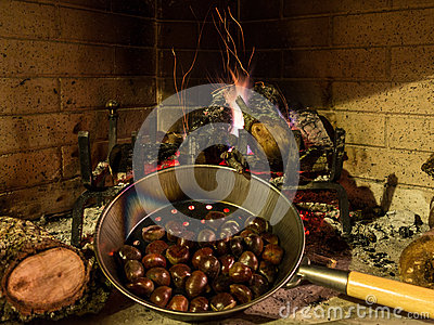 Chestnuts On An Open Fire Stock Photo Image 35759500