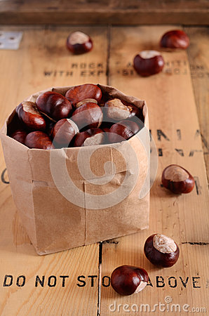 Chestnuts in paper bag