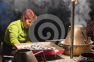Chestnuts street seller. Lisbon. Portugal