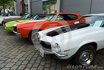 Chevrolet Camaro and Chevrolet Chevelle SS coupe and Dodge Challenger Editorial Stock Photo
