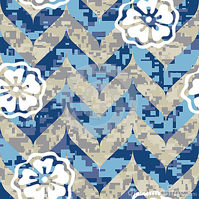Chevron Camouflage with Flowers