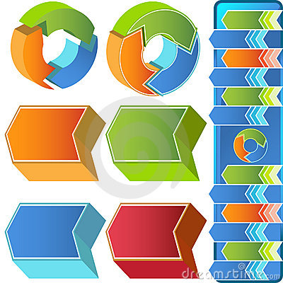 Chevron Circular 3D Menu Icons