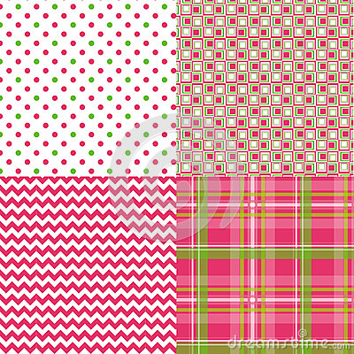 Chevron Pattern Plaid Dots Retro Vector