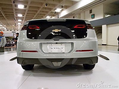 Chevy Volt on display on a spinning platform Editorial Stock Image