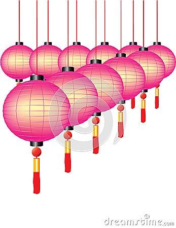 Chińscy kolorowi lampiony