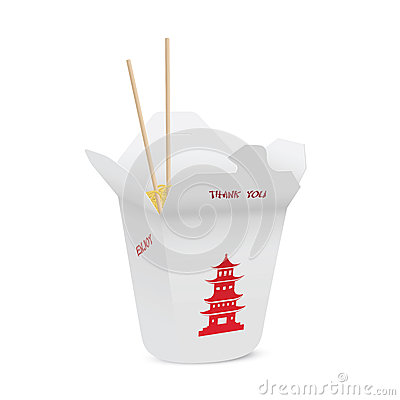 Chińska restauracja otwierał bierze out pudełkowatego wypełniającego z kluskami