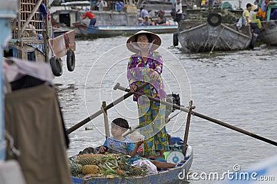 Chi Rang Floating Market Editorial Stock Photo