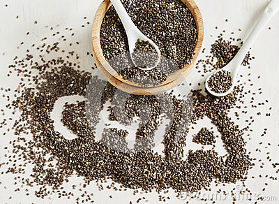 Chia seeds. Chia word made from chia seeds. Stock Photo