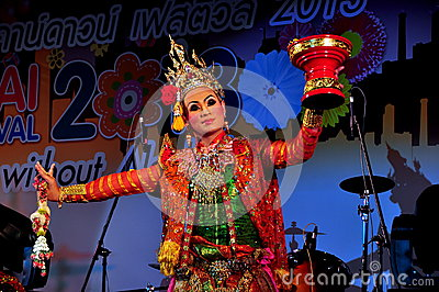 Chiang Mai, Th: Dancer at Festival Editorial Stock Photo