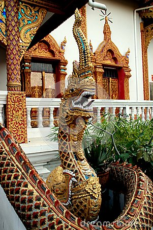 Chiang Mai, TH: Naga at Wat Lan Chang