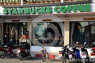 Chiang Mai, TH: Starbucks Coffee Shop Editorial Photography