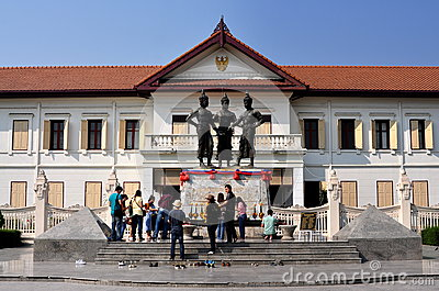 Chiang Mai, Thailand: 3 Kings Statues Editorial Stock Photo