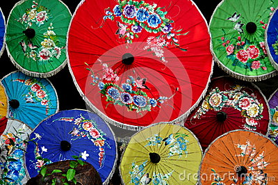 Chiang Mai, Thailand: Colourful Paper Parasols Editorial Photography