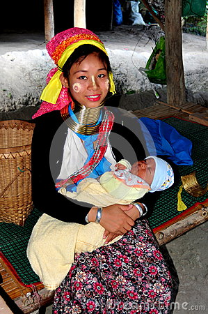 Chiang Mai, Thailand: Long Neck Mother with Baby Editorial Stock Photo