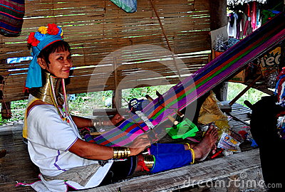 Chiang Mai, Thailand: Long Neck Woman Weaving Editorial Stock Image