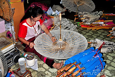 Chiang Mai, Thailand: Woman Making a Parasol Editorial Photo