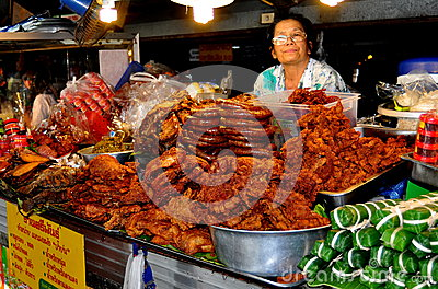 Chiang Mai, Thailand: Woman Selling Food Editorial Stock Photo