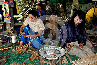 Chiang Mai, Thailand: Women Making Parasols Editorial Photography