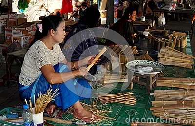 Chiang Mai, Thailand: Women Making Parasols Editorial Stock Image