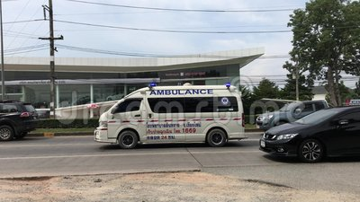 Ambulance van of Sansai hospital. Chiangmai, Thailand - October 25 2019: Ambulance van of Sansai hospital. On road no.1001, 8 km from Chiangmai city stock footage
