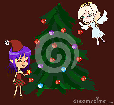 Chibi angel and demon with xmas tree