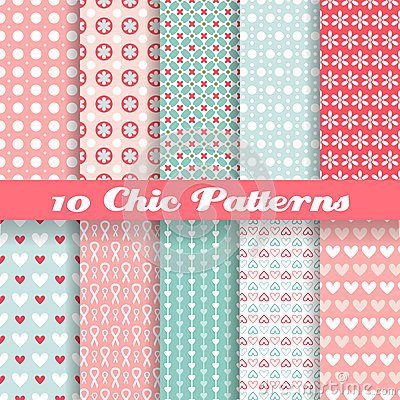 Free Chic Different Vector Seamless Patterns (tiling). Stock Photo - 33506000