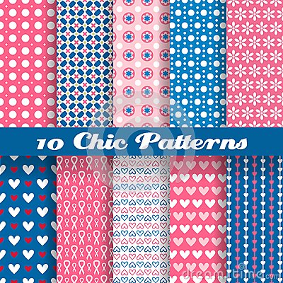 Free Chic Different Vector Seamless Patterns (tiling) Royalty Free Stock Photos - 37273308