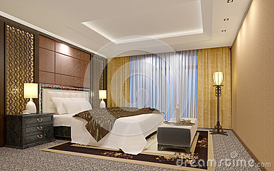 Chic luxury hotel bedroom