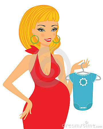 Chic pregnant blond shopping for her future baby