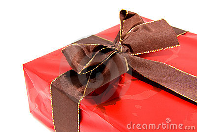 Chic red present with brown bow