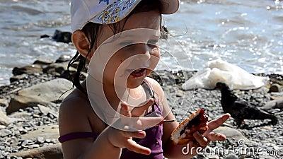 Chica feliz comiendo deliciosa tarta dulce con bayas de comida rápida en la playa Un aperitivo sano y sabroso bello mar en el almacen de metraje de vídeo